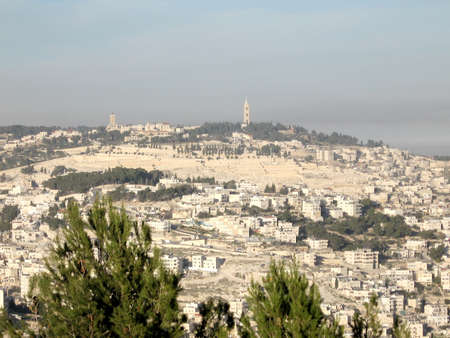 jewish town: View to Mount of Olives from Haas Promenade in Jerusalem, Israel Stock Photo