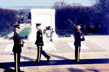 tomb unknown soldier: Honor Guard near Tomb of the Unknown Soldier in Arlington National Cemetery, Arlington Virginia USA Editorial