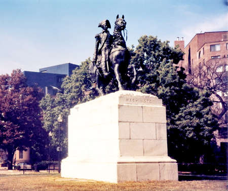 declaration: Statue of George Washington on horse in Washington DC, USA Editorial