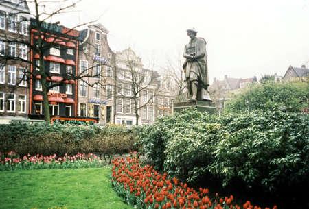 rembrandt: Rembrandt statue on Rembrandt square in Amsterdam, in 2002, Netherlands