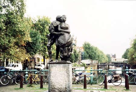 The Bredero Statue in Amsterdam, in 2002, Netherlands