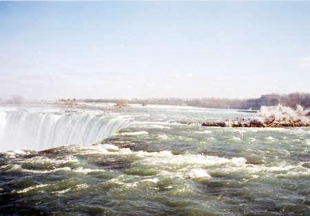 niagara falls: Canadian Falls in Niagara Falls, in March 2002, Canada