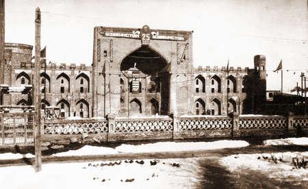 registan: Old photo: Tilya-Kori Madrasah of Registan  in Samarqand, in 1949, Uzbekistan