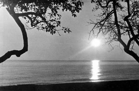 stadia: Old black and white photo: the sunset on shore of Black Sea near Southern Culture Park in Adler, in 1971, Russia