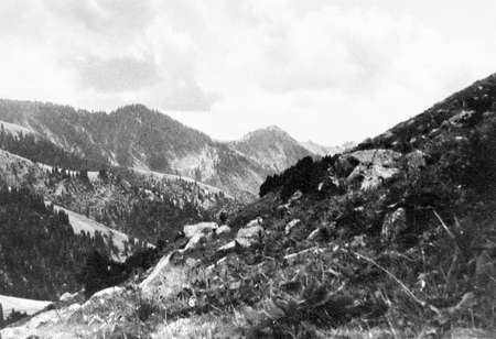 tyan shan mountains: Old black and white photo: the Tyan-Shan mountains near Issyk Kul lake, in 1965, Kyrgyzstan
