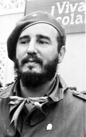 castro: Old black and white photo: portrait of Fidel in Yangiyer, 10 May 1963, Uzbekistan