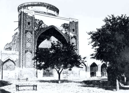 registan: Old photo: The Tilya-Kori Madrasah of Registan  in Samarkand, in 1962, Uzbekistan Editorial