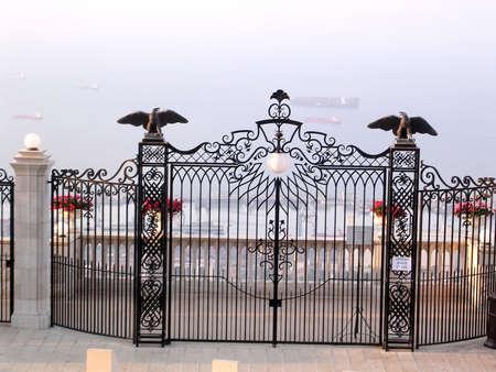 Gate with eagles in Bahai Gardens in Haifa, Israel