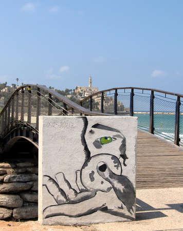 jaffo: View of Jaffa from bridge on the quay of Tel Aviv in Israel Editorial