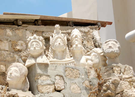 jafo: Sculpted bust near Church of St Peter in old city Jaffa, Israel