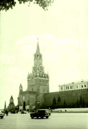 spassky: Old photo: The Spasskaya Tower of Moscow Kremlin in Moscow, in 1962, Russia