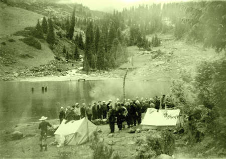 tyan shan mountains: Old photo: the tourists near lake in Tyan-Shan mountains, in 1965, Kyrgyzstan