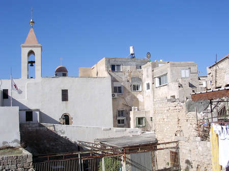 acre: Old houses near Church of St John in the old city of Acre, Akko, Israel
