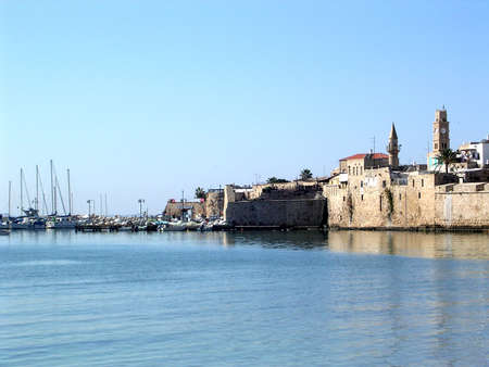 akko: View of port in the old city of Acre, Akko, Israel