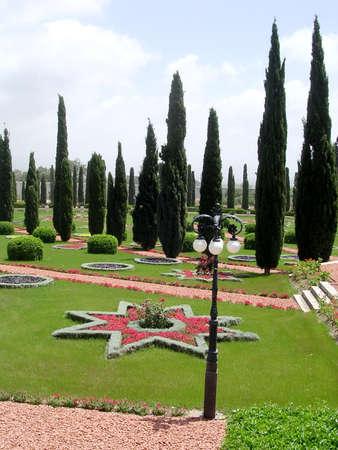 akko: Star and cypress in Bahai garden near Akko, Israel