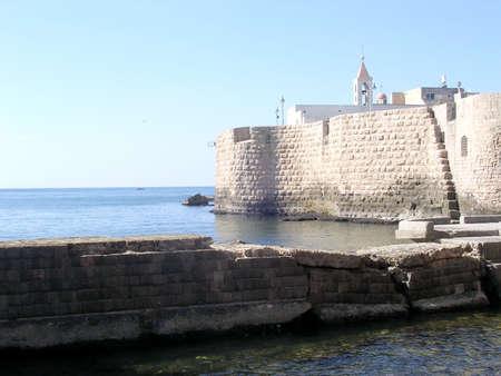 akko: View of Ottoman Turkish Sea Walls  in the old city of Acre, Akko, Israel