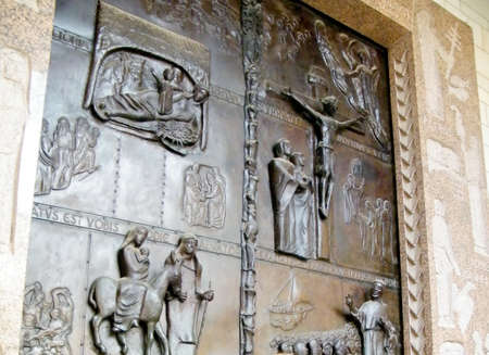 annunciation: The Door of Basilica of the Annunciation in Nazareth, Israel