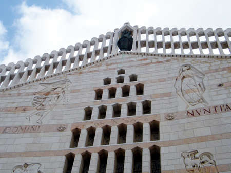 The main facade of Basilica of the Annunciation in Nazareth, Israel