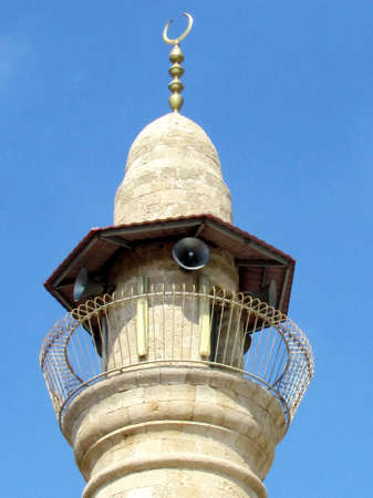minaret: Top of minaret of the Al-siksik Mosque in old city Jaffa, Israel Stock Photo