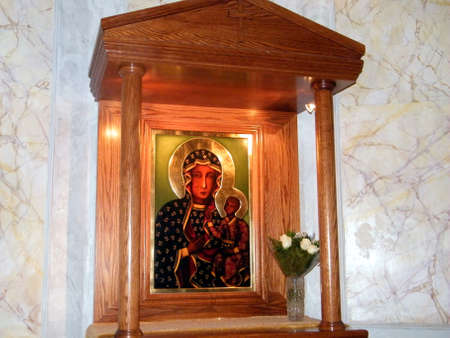 The icon of Madonna and Child in Church of St Peter  in old city Jaffa, Israel