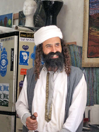 house of prayer: The seller in shop of the Jewish religious quarter in Safed, Upper Galilee, in 2008, Israel