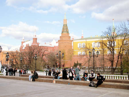 arsenal: View of the Corner Arsenal Tower of Moscow Kremlin from the Alexander Garden in Moscow, Russia