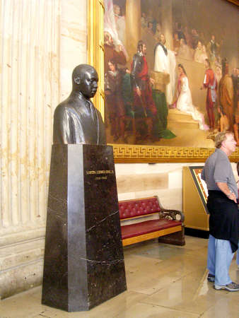Martin Luther King bust in Statuary Hall of the Capitol in Washington DC, USA