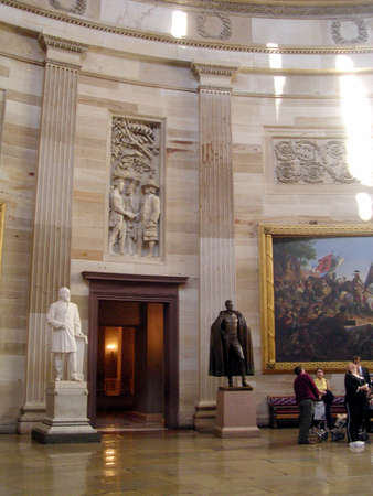 Garfield and Jackson statues in Statuary Hall of the Capitol in Washington DC, USA