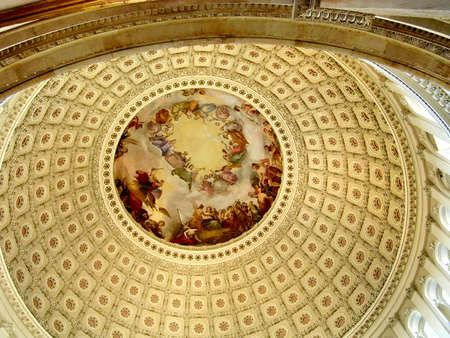 Top part of dome inside of US Capitol in Washington DC