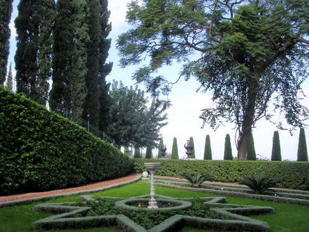 bahaullah: The flowerbed in the shape of a star in Bahai Gardens in Haifa, Israel