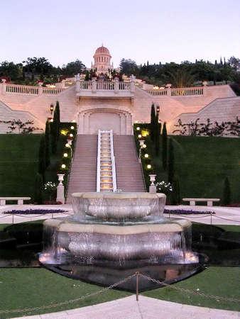 bahaullah: The Bahai Gardens in the evening light in Haifa, Israel