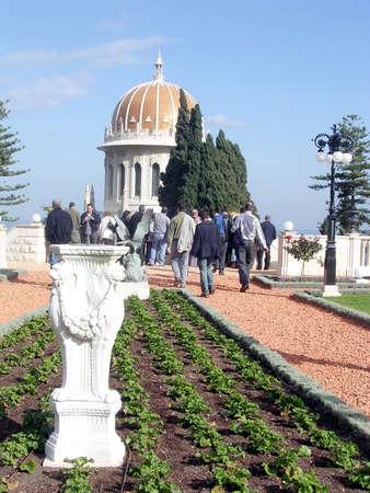 bahaullah: A visitor coming to the Shrine of Bab in Bahai Gardens in Haifa, Israel