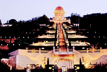bahaullah: Bahai Gardens in the night light in Haifa, Israel