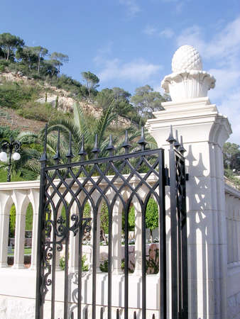 bahaullah: Half gate of Bahai Gardens in Haifa, Israel Editorial
