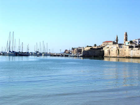 akko: Smooth sea near por in the old city of Acre, Akko, Israel