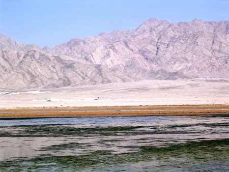 arava: Pond near border Israel-Jordan in Arava desert near Eilat in Israel