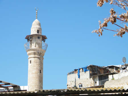 minaret: The minaret of Al-siksik mosque in old city Jaffa, Israel Stock Photo