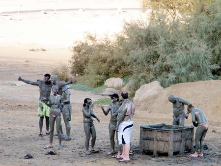 Mud Treatment on Beach of the Dead Sea in Ein Gedi, Israel