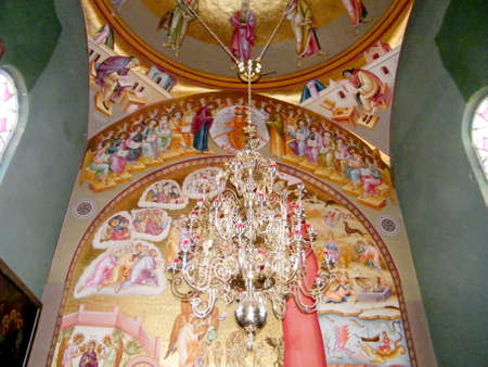 kefar: The interior of Greek Orthodox Church of the Seven Apostles in Kapernaum on the shores of Sea of Galilee in northern Israel