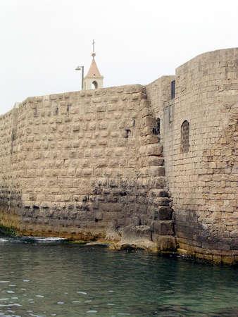 akko: Ancient Ottoman Turkish Sea Wall in Akko (Acre), Israel Stock Photo