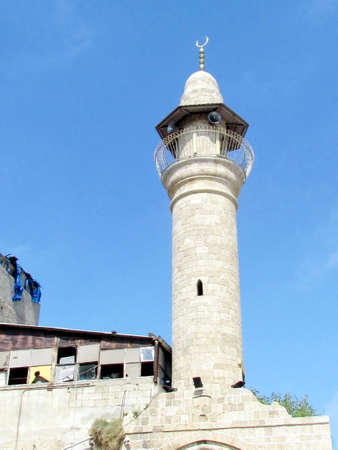 etymology: The ancient minaret of Al-siksik mosque in old city Jaffa, Israel