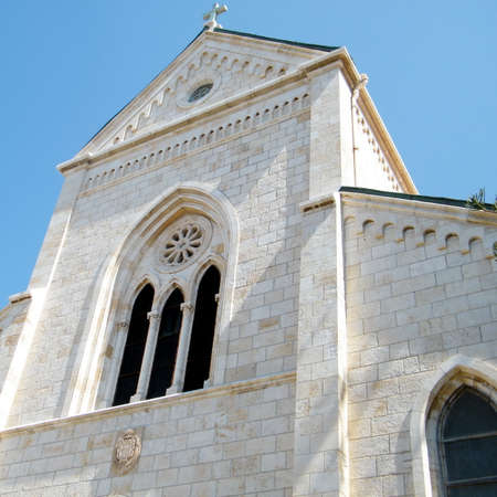 yafo: The pediment of the Franciscan Church of St. Anthony in old city Jaffa, Israel