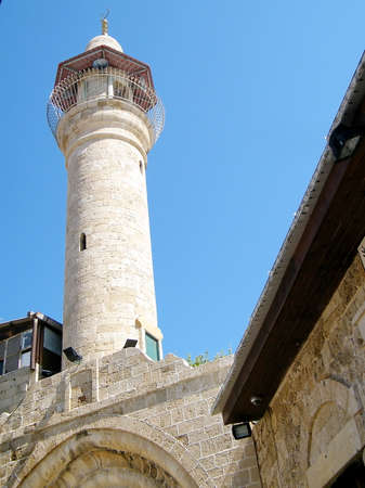 old city: Ancient Minaret of mosque in old city Jaffa, Israel