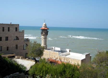 minaret: Mosque Minaret and Sea in Jaffa, Israel