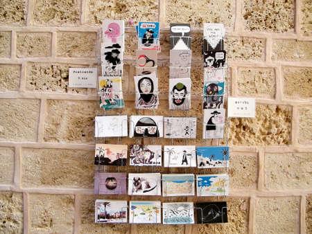 yafo: Postcards in Netiv HaMazolot street in old city Jaffa, Israel Stock Photo