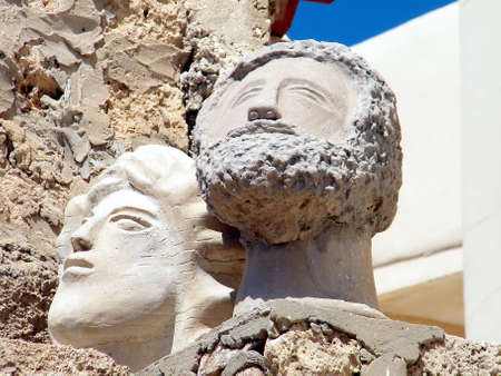 jafo: Two sculptural portrait in old city Jaffa, Israel