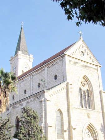 jaffa: The  building of Franciscan Church in old city Jaffa, Israel