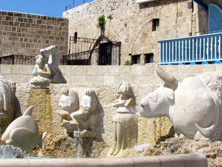 gemini girl: The Zodiacal signs fountain in old Jaffa, Israel Stock Photo
