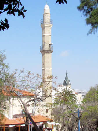 minaret: View of the minaret of Mahmoudiya Mosque in old city Jaffa, Israel Stock Photo