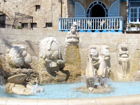 antics: The Zodiac fountain in old city Jaffa, Israel